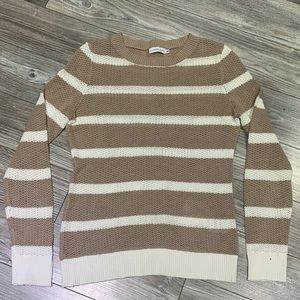 Alfred Sung   Tan and White Striped Knit Sweater